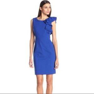 Calvin Klein Blue Sleeveless Dress with Ruffle